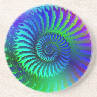 Coaster - Psychedelic Fractal blue terquoise