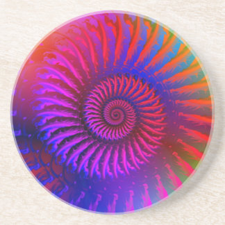 Coaster - Psychedelic Fractal pink red purple