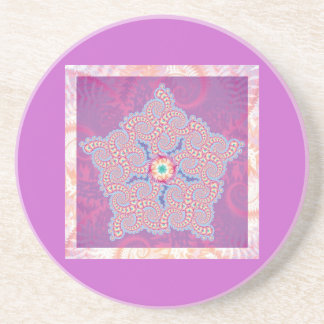 Coaster - Purple Star Fractal Pattern