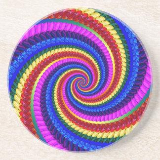 Coaster - Rainbow Swirl Fractal Pattern