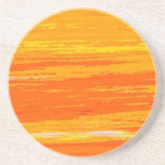Coaster. Reds Yellows Orange horizontal waves. Coaster