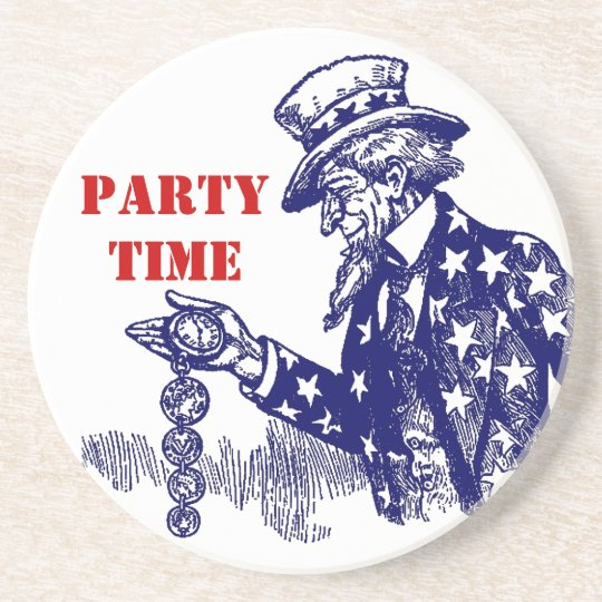 """Coaster Uncle Sam w/ Pocket Watch Fob """"party"""