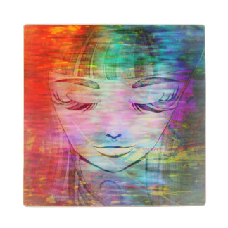 Coaster with colorful grunge girl Illustration Maple Wood Coaster