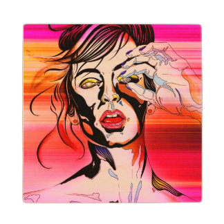 Coaster with colorful grunge girl Illustration Wood Coaster