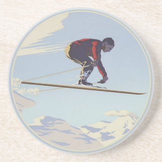 Coaster with Cool Vintage Ski Print