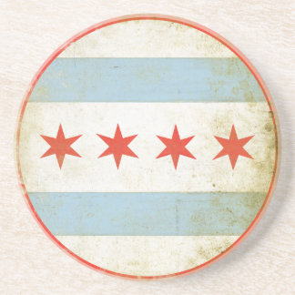Coaster with Distressed Flag from Chicago