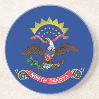Coaster with Flag of the North Dakota, USA