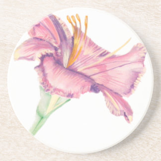 Coaster with Pink Lily Easter Flower