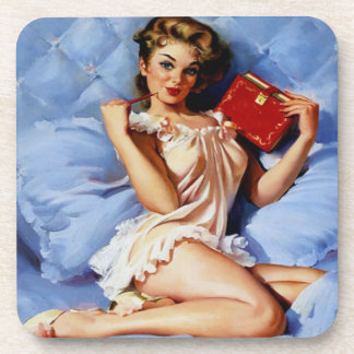 Coaster with Retro Pin Up Girl