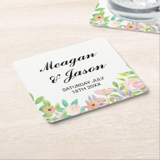 Coasters Flowers Wedding Watercolour Drinks Party