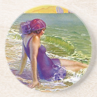Coasters Vintage Flapper Beach plum Swimsuit gifts