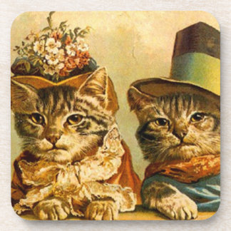 Coasters Vintage Victorian Party Cats Kittens