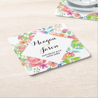 Coasters Watercolour Flowers Wedding Drinks Party