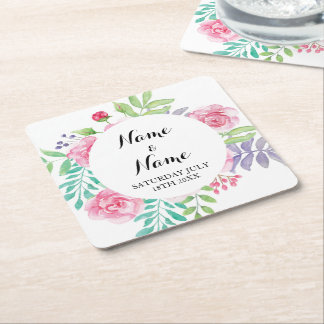 Coasters Watercolour Rose Flowers Wedding Party
