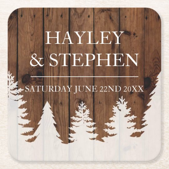 Coasters Wood Trees Xmas Rustic Wedding Party