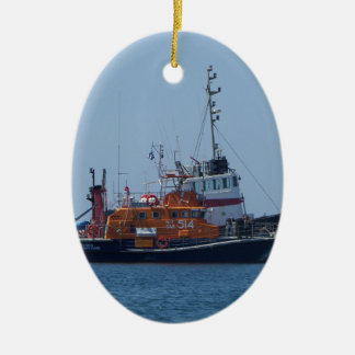 Coastguard Boat And Tug Boat Ceramic Oval Decoration