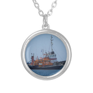 Coastguard Boat And Tug Boat Silver Plated Necklace