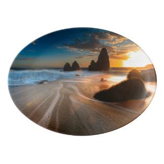 Coastline At Sunset | Northern California Porcelain Serving Platter