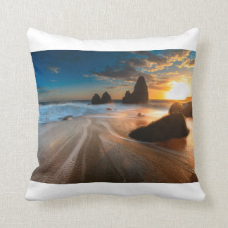 Coastline At Sunset | Northern California Throw Pillow