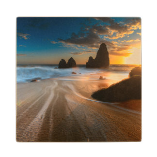 Coastline At Sunset | Northern California Wood Coaster
