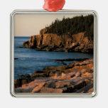 Coastline of Acadia National Park , Maine Silver-Colored Square Decoration