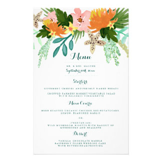 Coastline Wedding Dinner Menu 14 Cm X 21.5 Cm Flyer