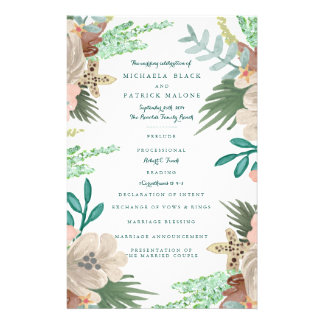 Coastline Wedding Programs 14 Cm X 21.5 Cm Flyer