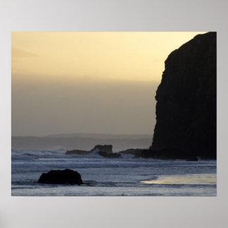 coastline with stormy seas poster