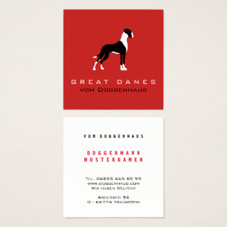 Coat German Dogge Square Business Card