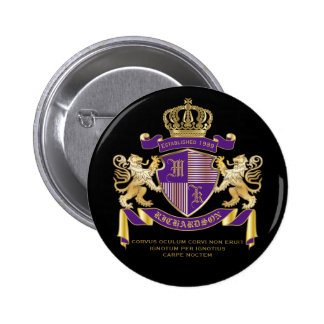 Coat of Arms Monogram Emblem Golden Lion Shield 6 Cm Round Badge