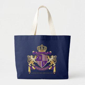 Coat of Arms Monogram Emblem Golden Lion Shield Large Tote Bag
