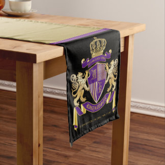 Coat of Arms Monogram Emblem Golden Lion Shield Short Table Runner