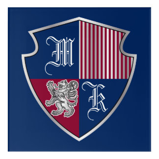 Coat of Arms Monogram Emblem Silver Lion Shield Acrylic Wall Art