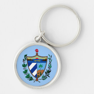 Coat of arms of Cuba Silver-Colored Round Key Ring