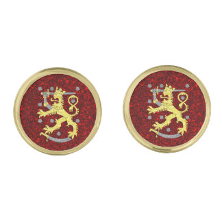 Coat of arms of Finland Gold Finish Cuff Links