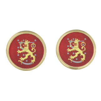 Coat of arms of Finland Gold Finish Cufflinks