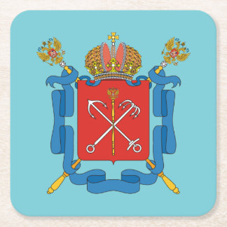 Coat of arms of Saint Petersburg Square Paper Coaster