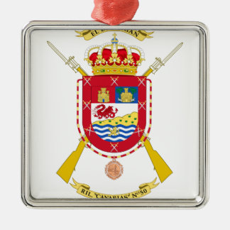 Coat of Arms of the 50th Light Infantry Regiment Silver-Colored Square Decoration