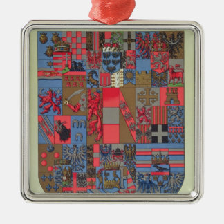 Coat of Arms of the Austro-Hungarian Empire Silver-Colored Square Decoration