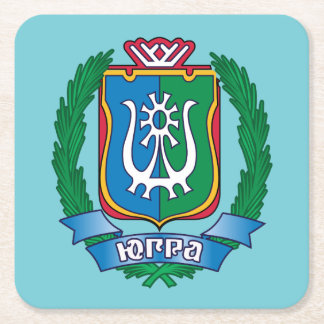 Coat of arms of  Yugra Square Paper Coaster