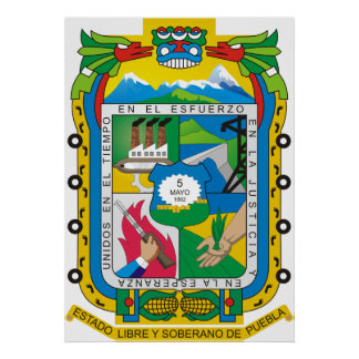 Coat of arms Puebla Official Mexican Heraldry Logo Poster
