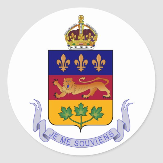 Coat of arms Québec Official Canada Heraldry Logo Classic Round Sticker