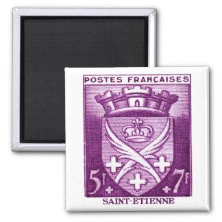 Coat of Arms, Saint Etienne France Square Magnet