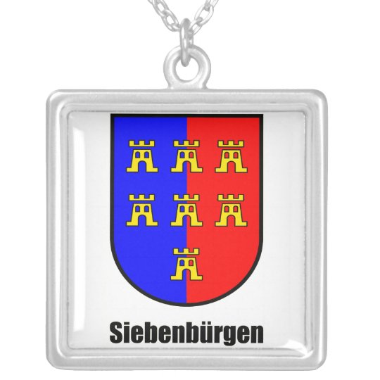 "Coat of arms seven-citizen Saxonia ""Transylvania "" Silver Plated Necklace"