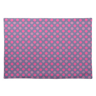 Cobalt And Pink Polka Dots Pattern Placemats