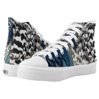 Cobalt and Ruffles Peacock Feathers High Tops