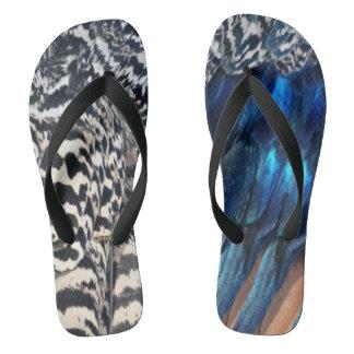Cobalt and Ruffles Peacock Flip Flops