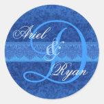 Cobalt and Sky Blue Damask Wedding Monogram V2 Round Sticker