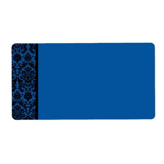 Cobalt Blue and Black Damask Blank Address Label