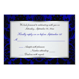 Cobalt Blue and Black Damask Reply Card Personalized Announcements